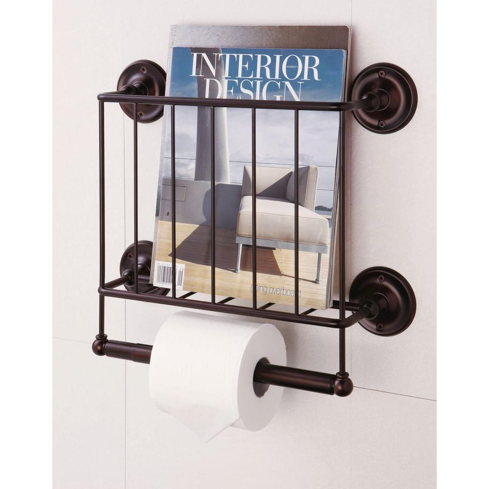 Neu Home 1512 In W Wall Mount Magazine Rack With Toilet Paper