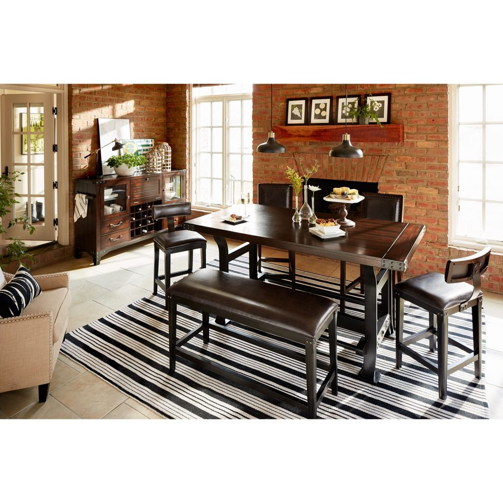 Newcastle Counter Height Dining Table 2 Chairs 2 Stools And Bench