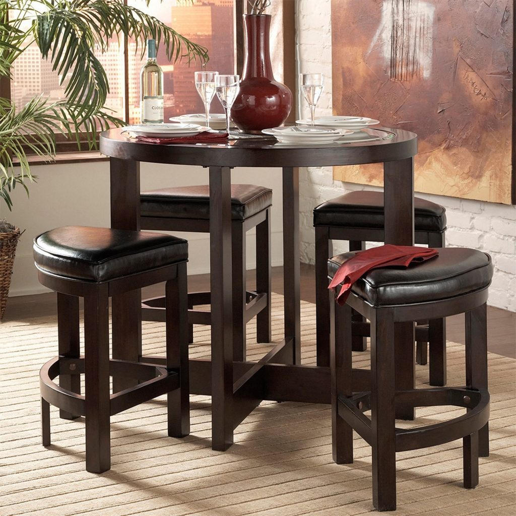 Pieces Pub Style Dining Sets Design With Round Wooden Luxury Room