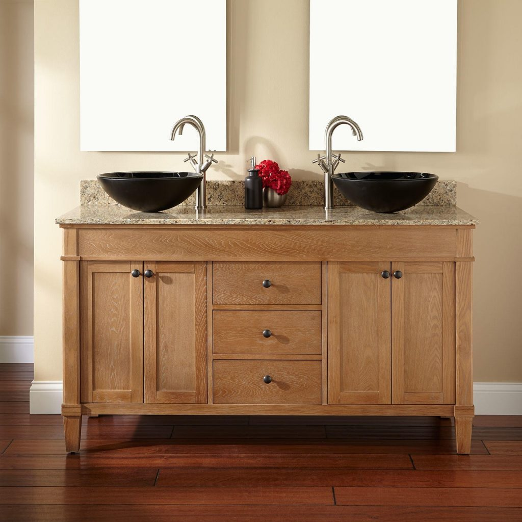 Pine Wooden Double Sink Vanity Panel Using Stainless Steel Curved