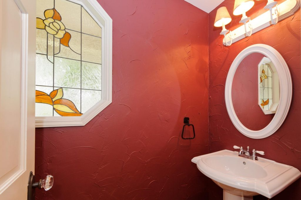 Pleasant Tiny Red Bathroom Decorating Ideas With Rounded Mirror Over