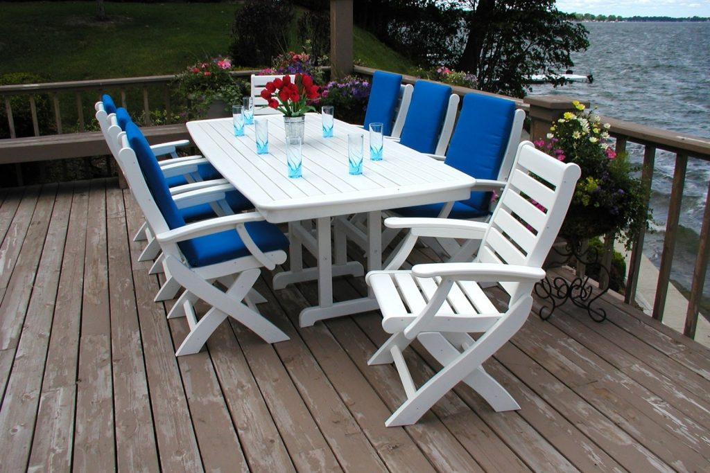 Polywood Outdoor Dining Set Folding Chairs And Table Set