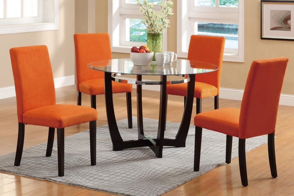 Poundex F2348 5pcs Casual Glass Dining Set