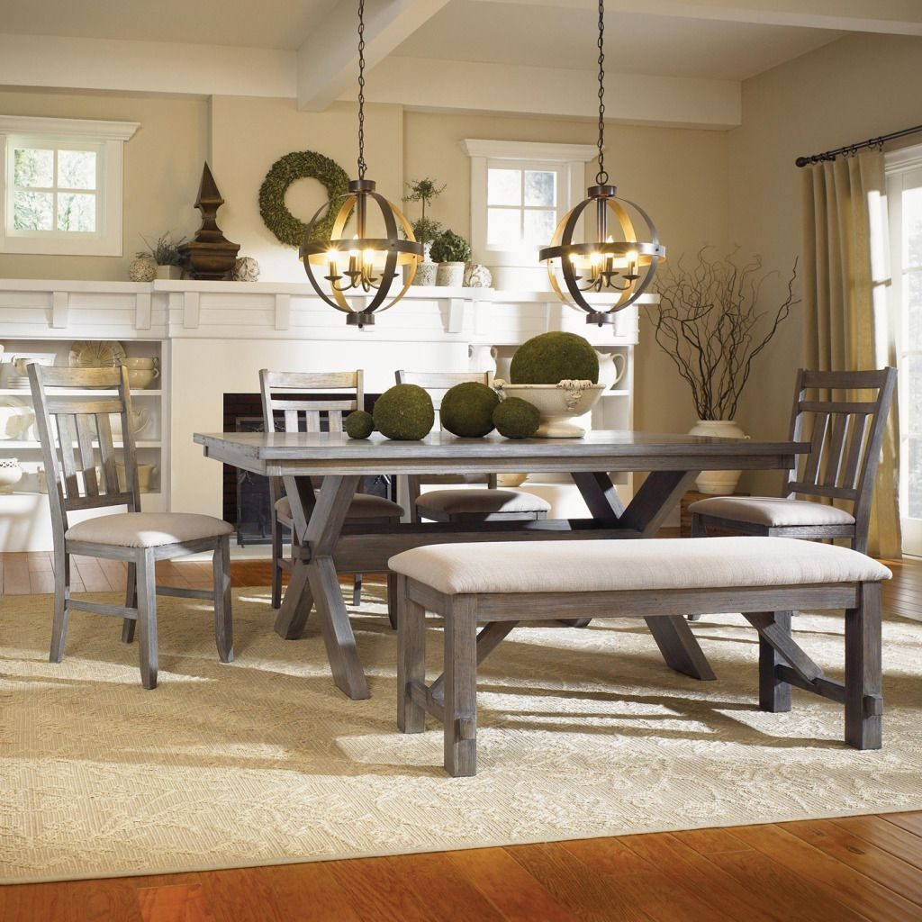 Powell Turino Grey Oak Dining Room Kitchen Table 4 Chairs Bench