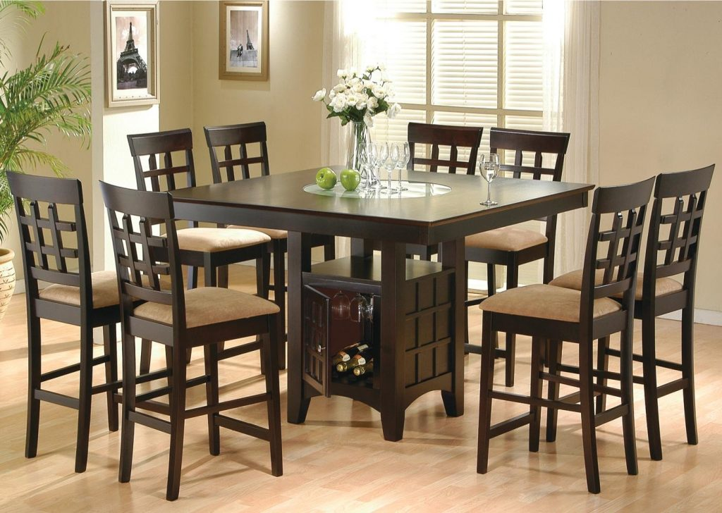 Pub Style Dining Room Sets With Dark Brown 8 Chairs With Light Brown