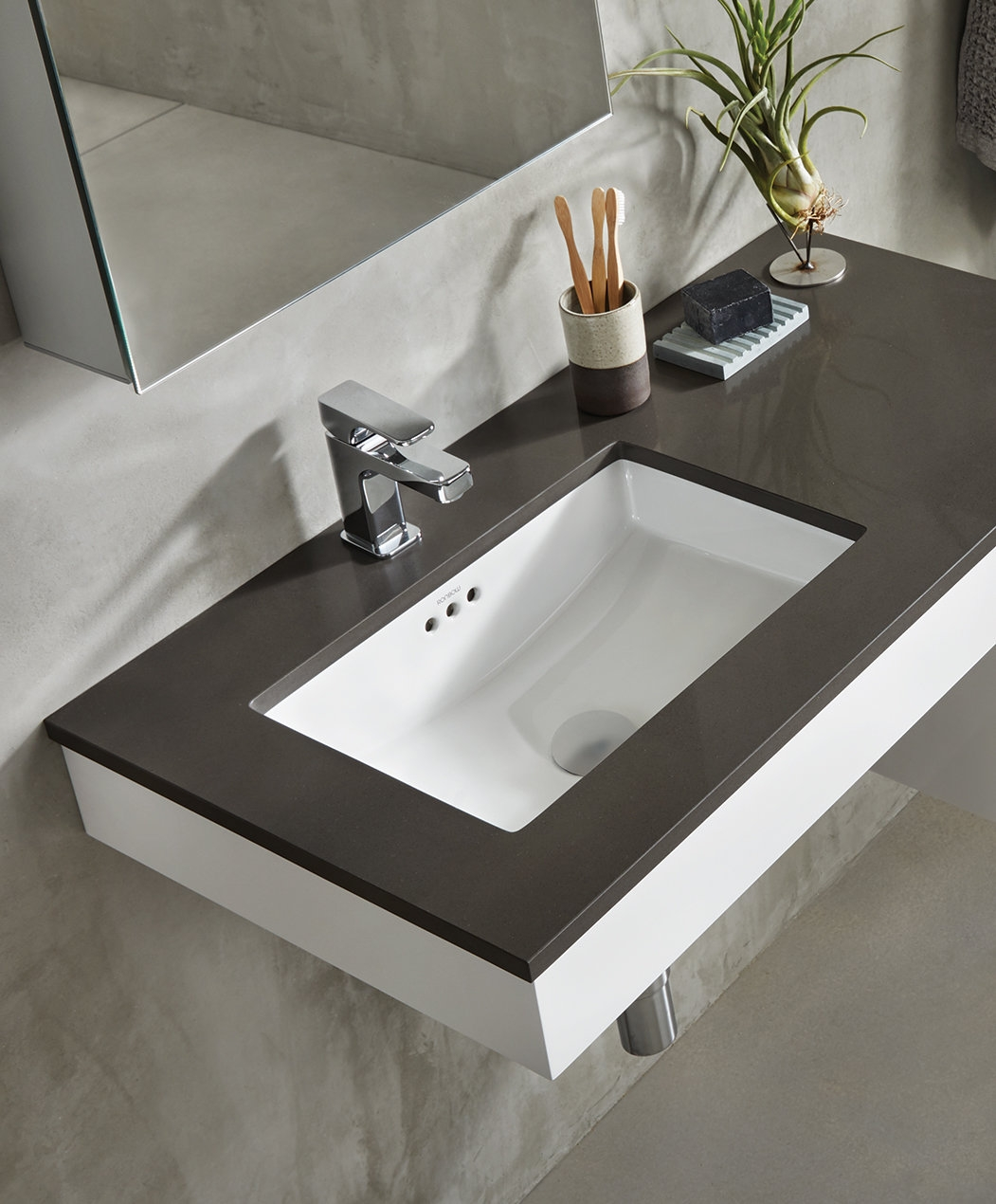 Ronbow Essence Ceramic Rectangular Undermount Bathroom Sink With