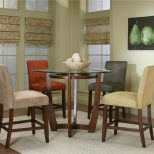 Round Counter Height Dining Table With Micro Suede Chair Set