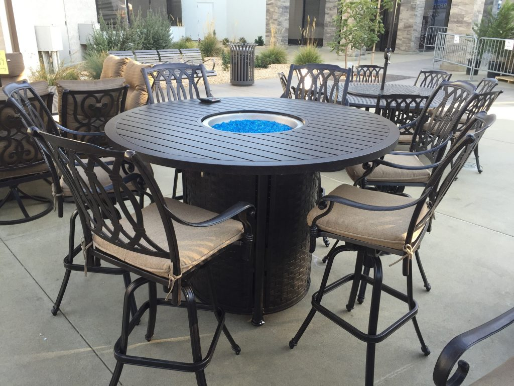 San Marcos 7 Piece Bar Height Patio Set With Fire Pit 60 Inch Round
