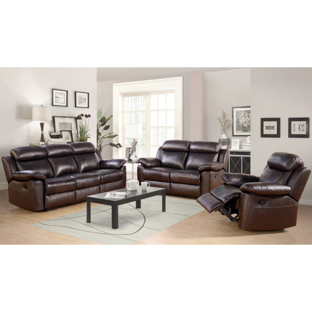 Shop Abson Braylen 3 Piece Top Grain Leather Reclining Living Room