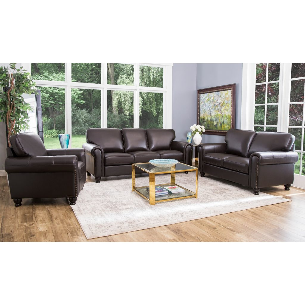 Shop Abson London Top Grain Leather Living Room Sofa Set On Sale