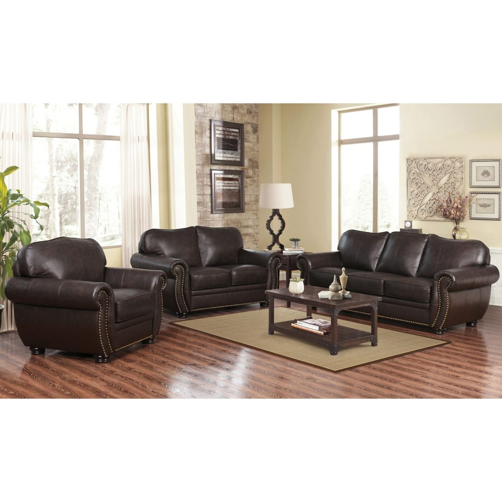 Shop Abson Richfield Top Grain Leather Living Room Sofa Set On