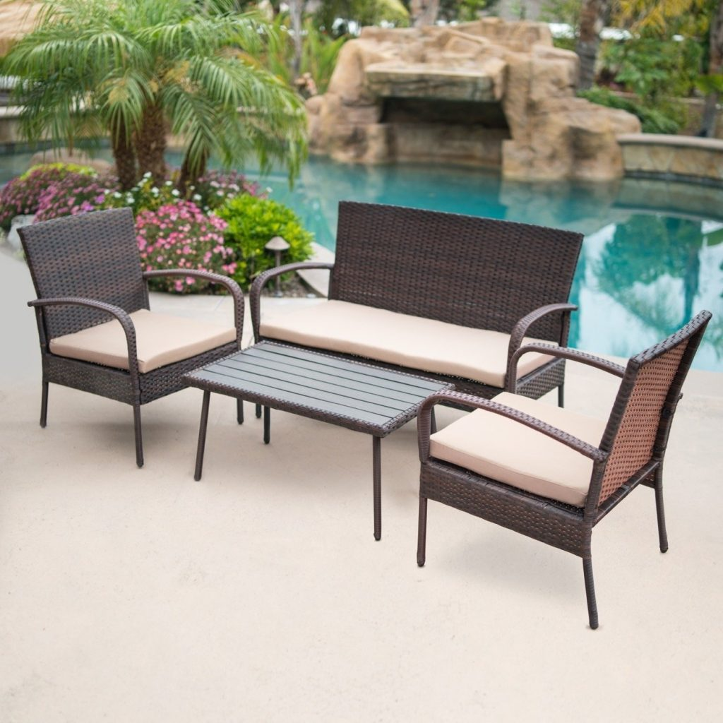 Shop Belleze 4 Pc Outdoor Patio Furniture Wicker Set Seat Cushion