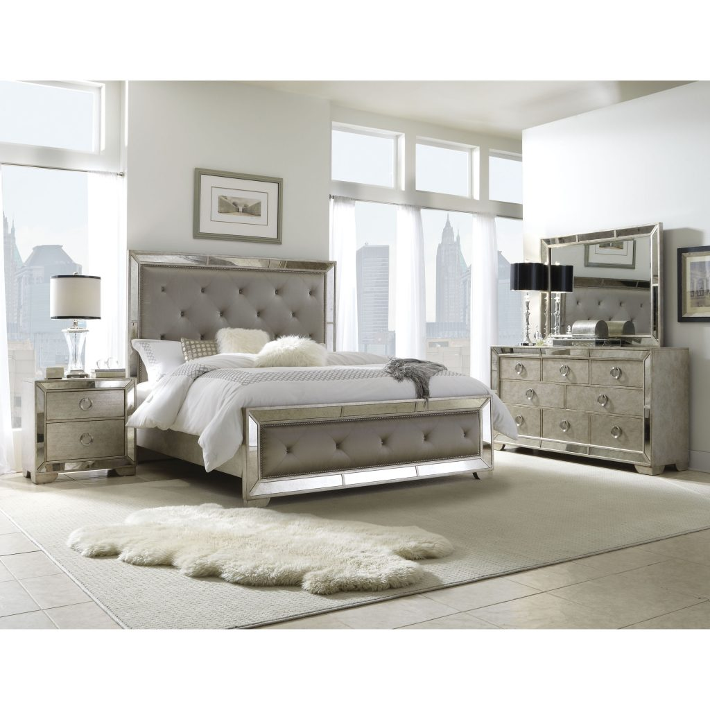 Shop Celine 6 Piece Mirrored And Upholstered Tufted Queen Size