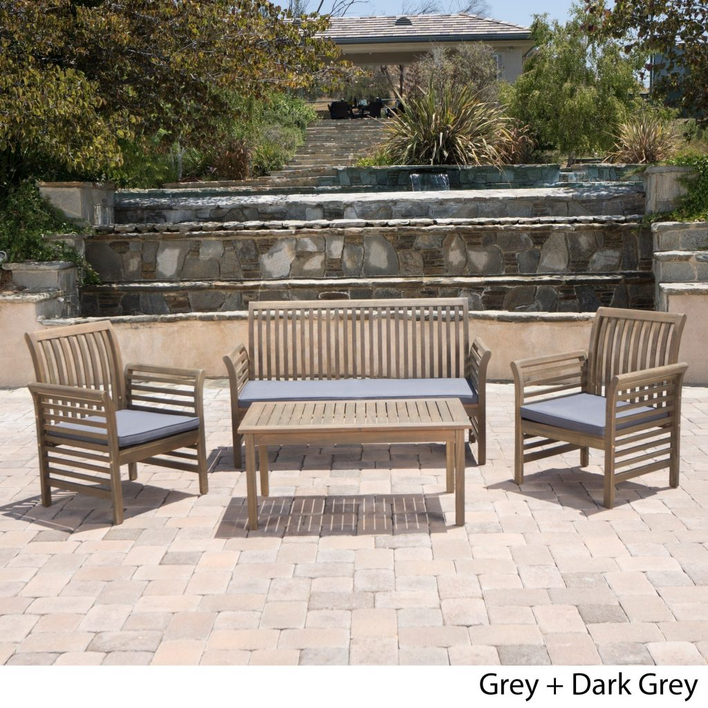Shop Desmond Outdoor 4 Piece Acacia Wood Chat Set With Cushions