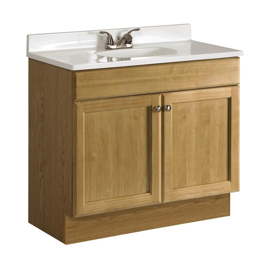 Shop Project Source Golden Single Sink Vanity With White Cultured