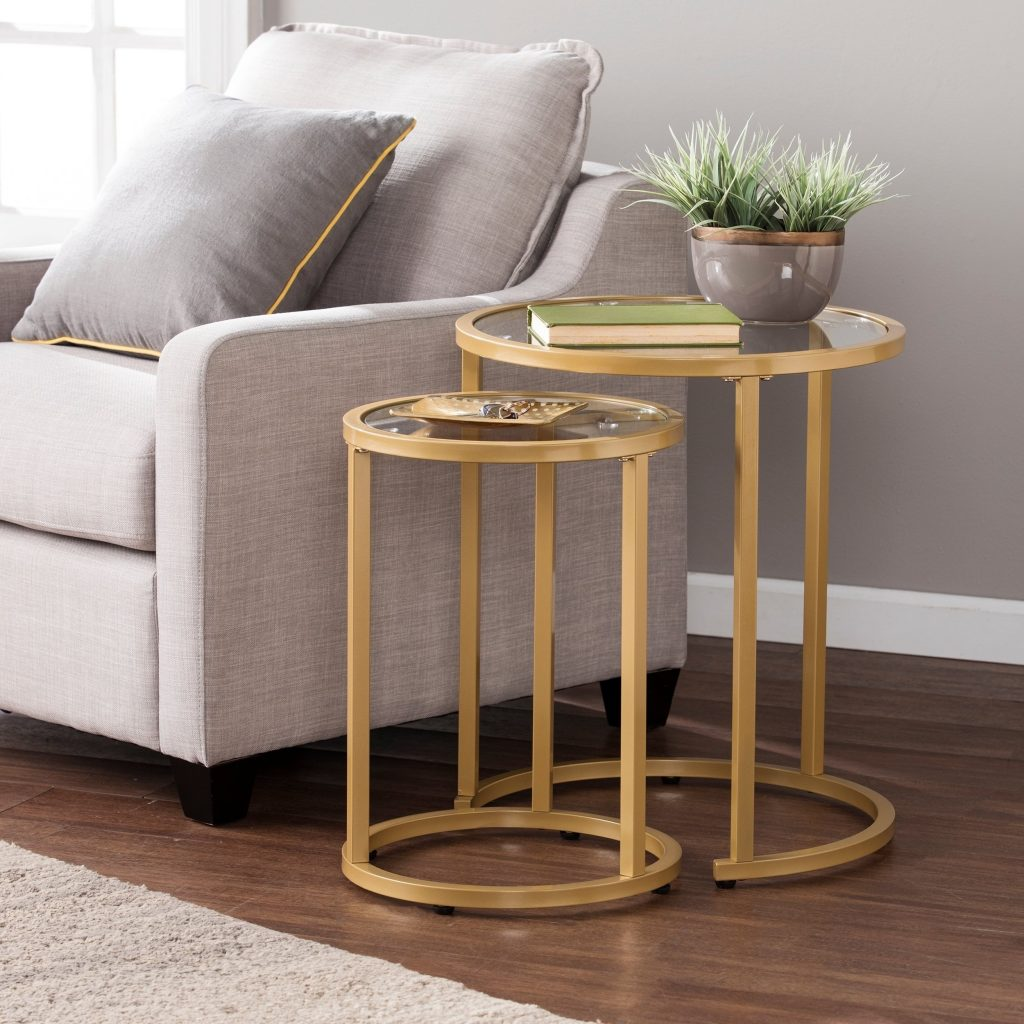 Shop Silver Orchid Grant Glam Nesting Side Table 2pc Set Gold