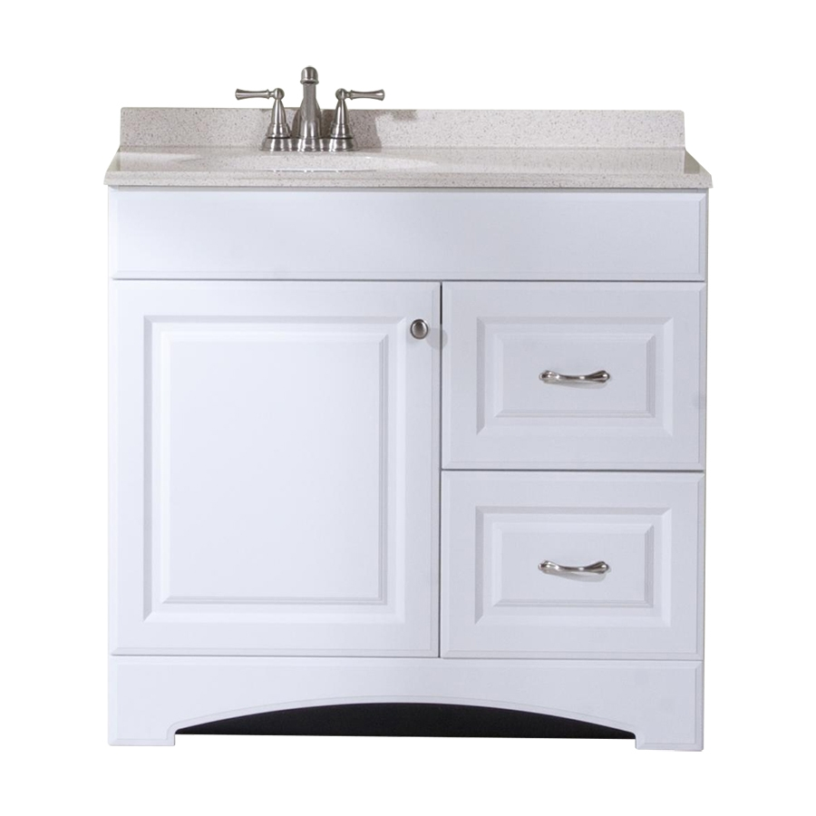 Shop Style Selections Almeta White Single Sink Vanity With Tan