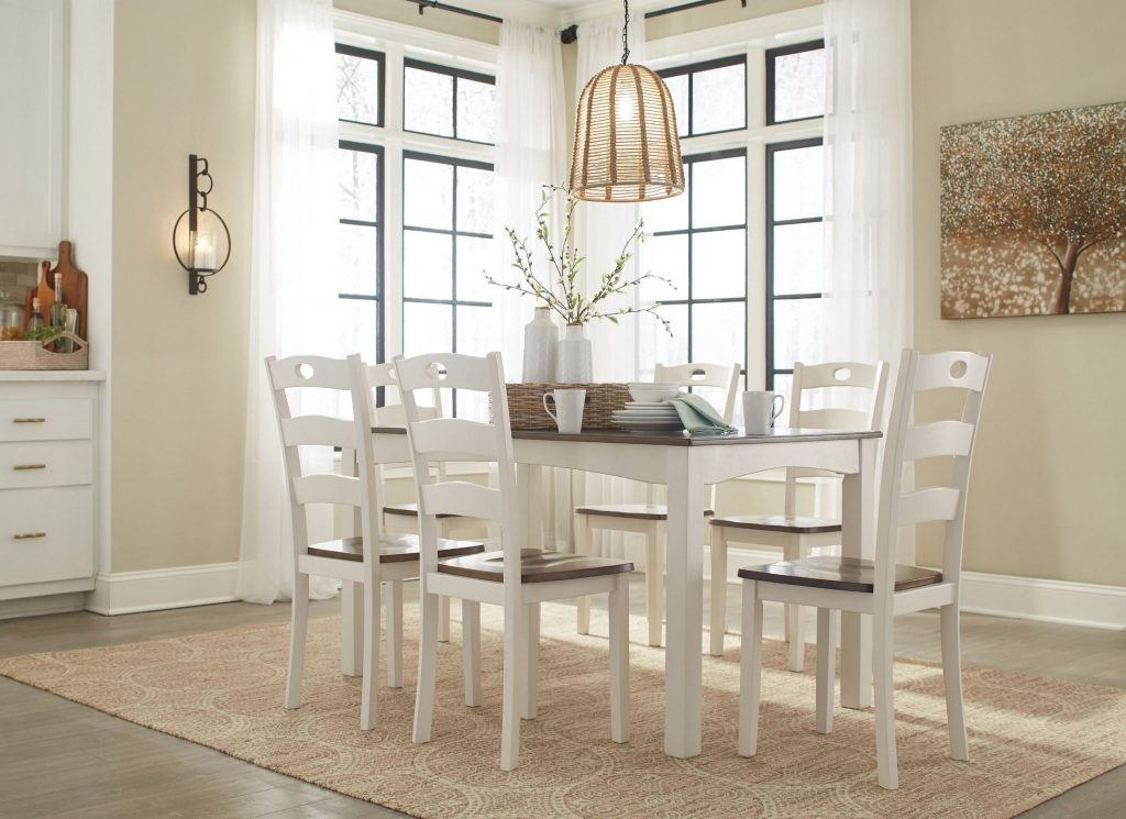 Signature Design Ashley Woodanville White And Brown 7 Piece