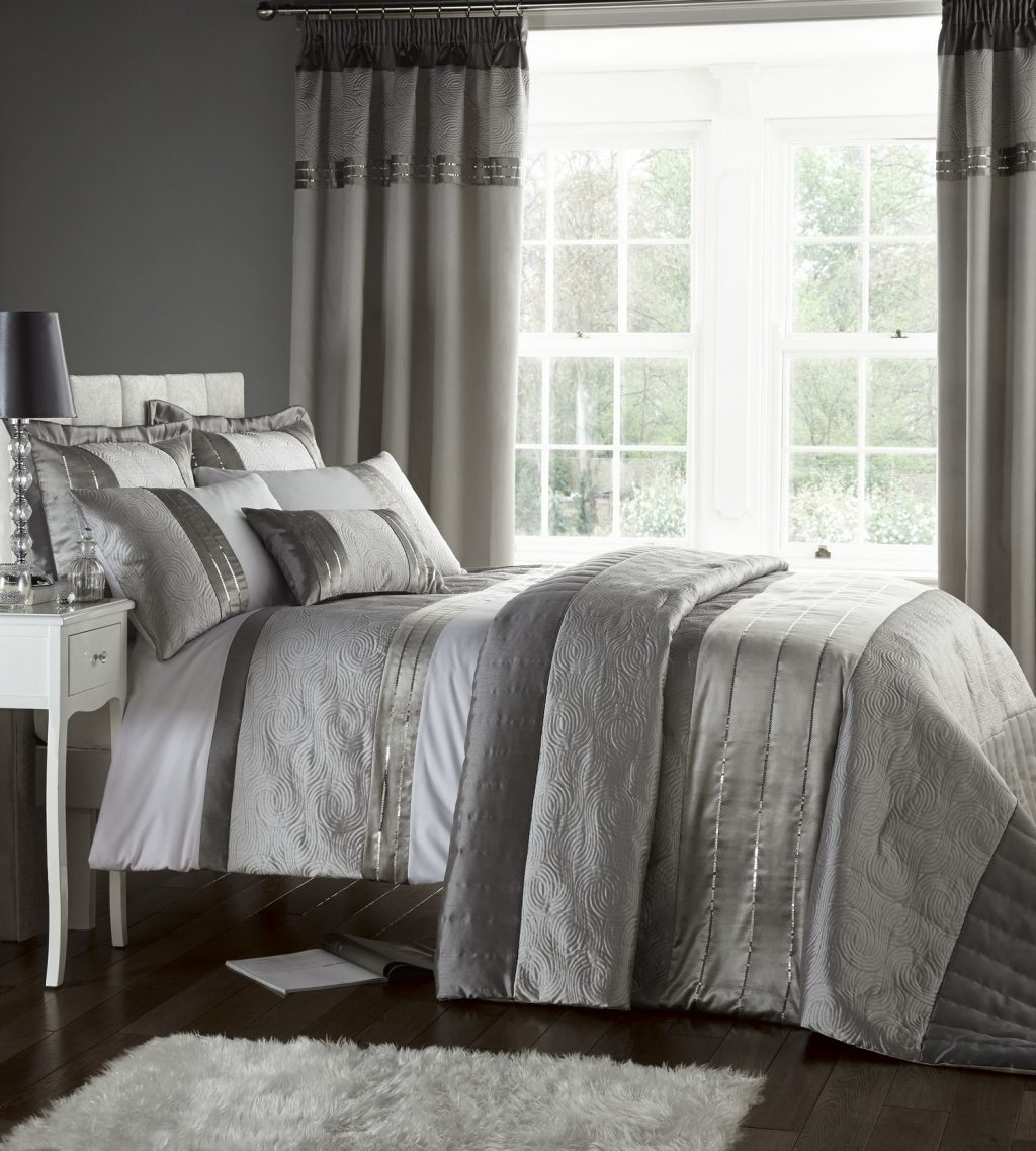 Silver Grey Luxury Duvet Quilt Cover Bedding Bed Set Or Curtains Or