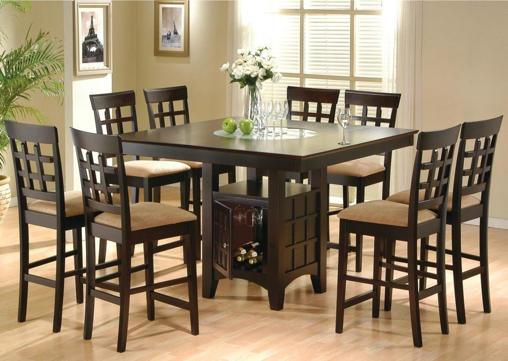 Simple Pub Style Dining Room Sets With Dark Brown 8 Chairs With