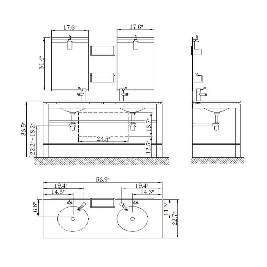 Standard Bathroom Vanity Dimensions Lovely 72quot Lucy Double Sink