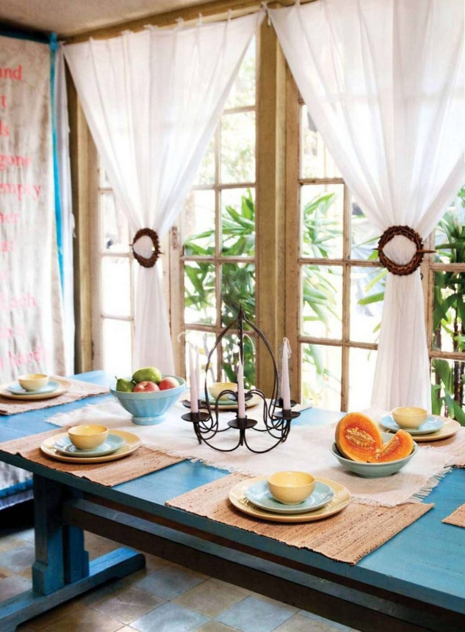 Stunning White Fabric Homemade Dining Room Curtains With Blue Square