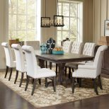 Traditional Dining Table And Cream Upholstered Chair Set Coaster