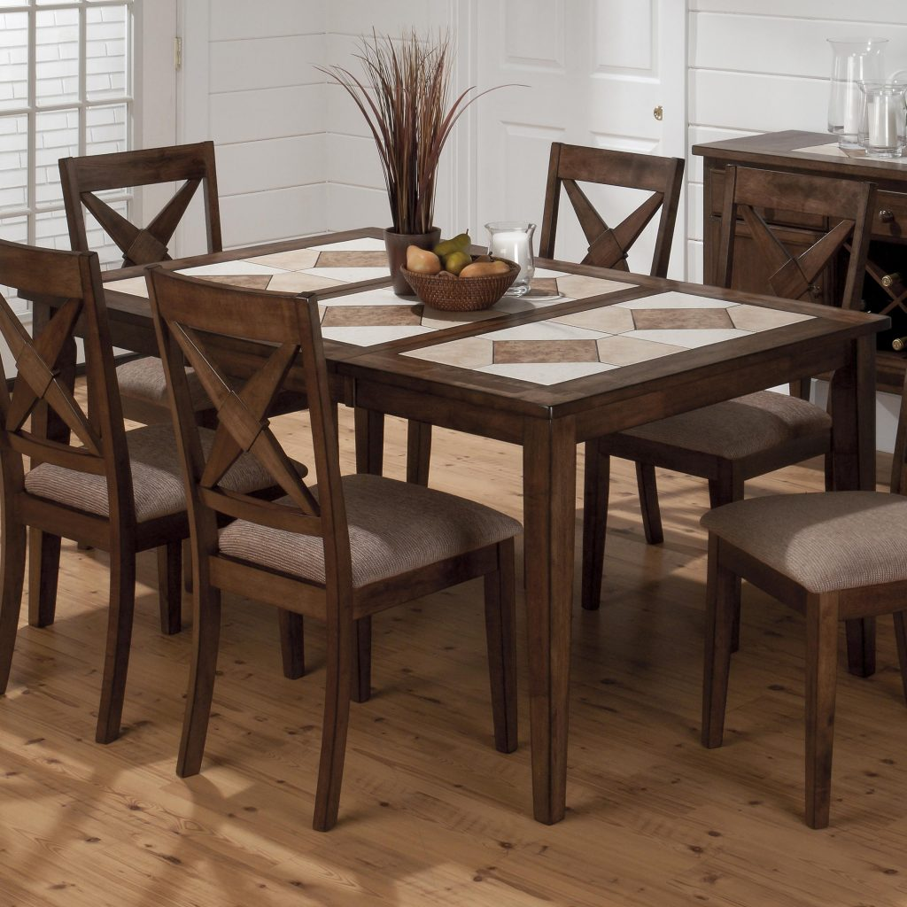Tucson Casual Brown Wood Tri Color Tile Top Dining Table The