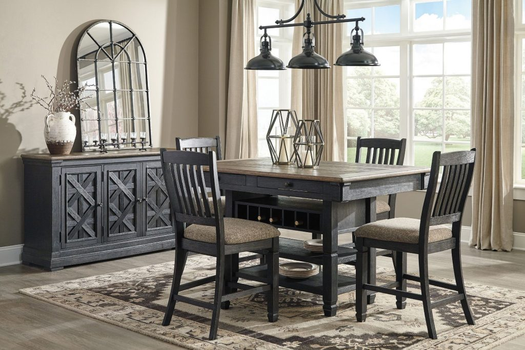 Tyler Creek Black And Gray Rectangular Counter Height Dining Room