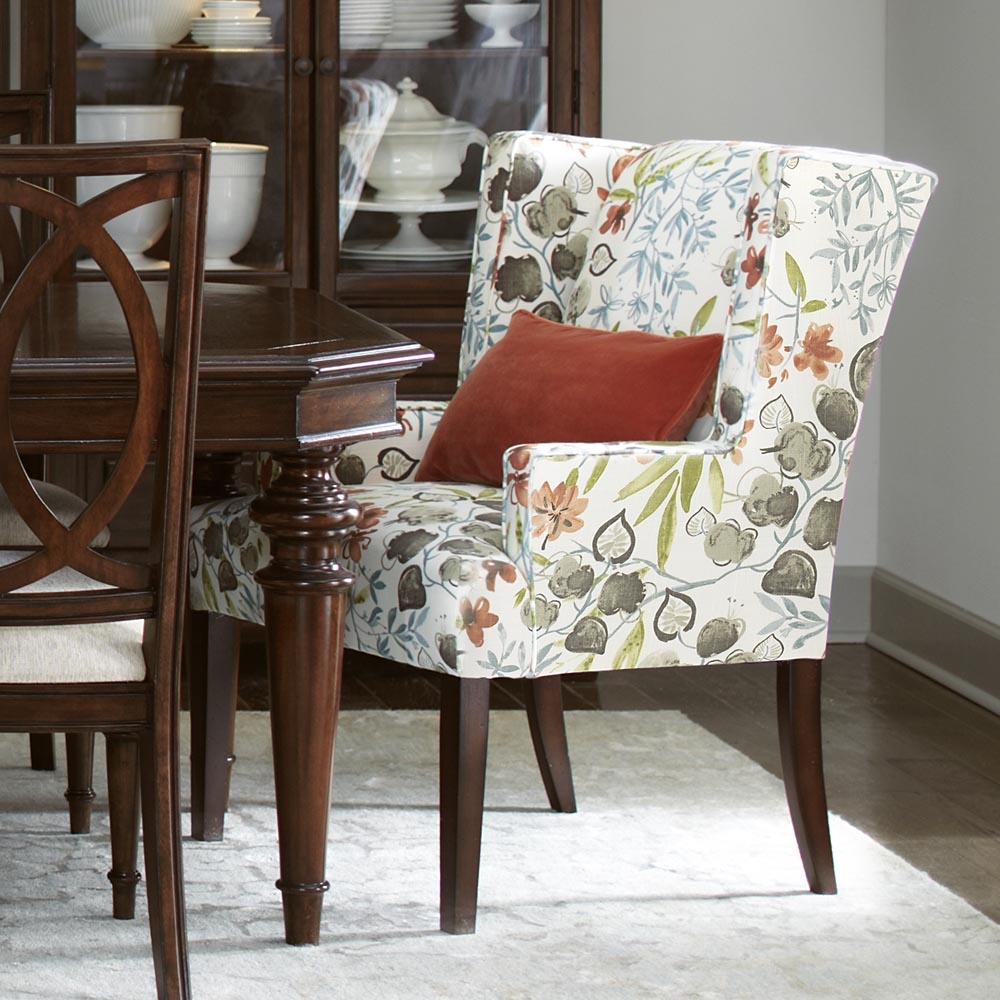 Upholstered Dining Chairs With Arms Regarding Lovely Dining Room