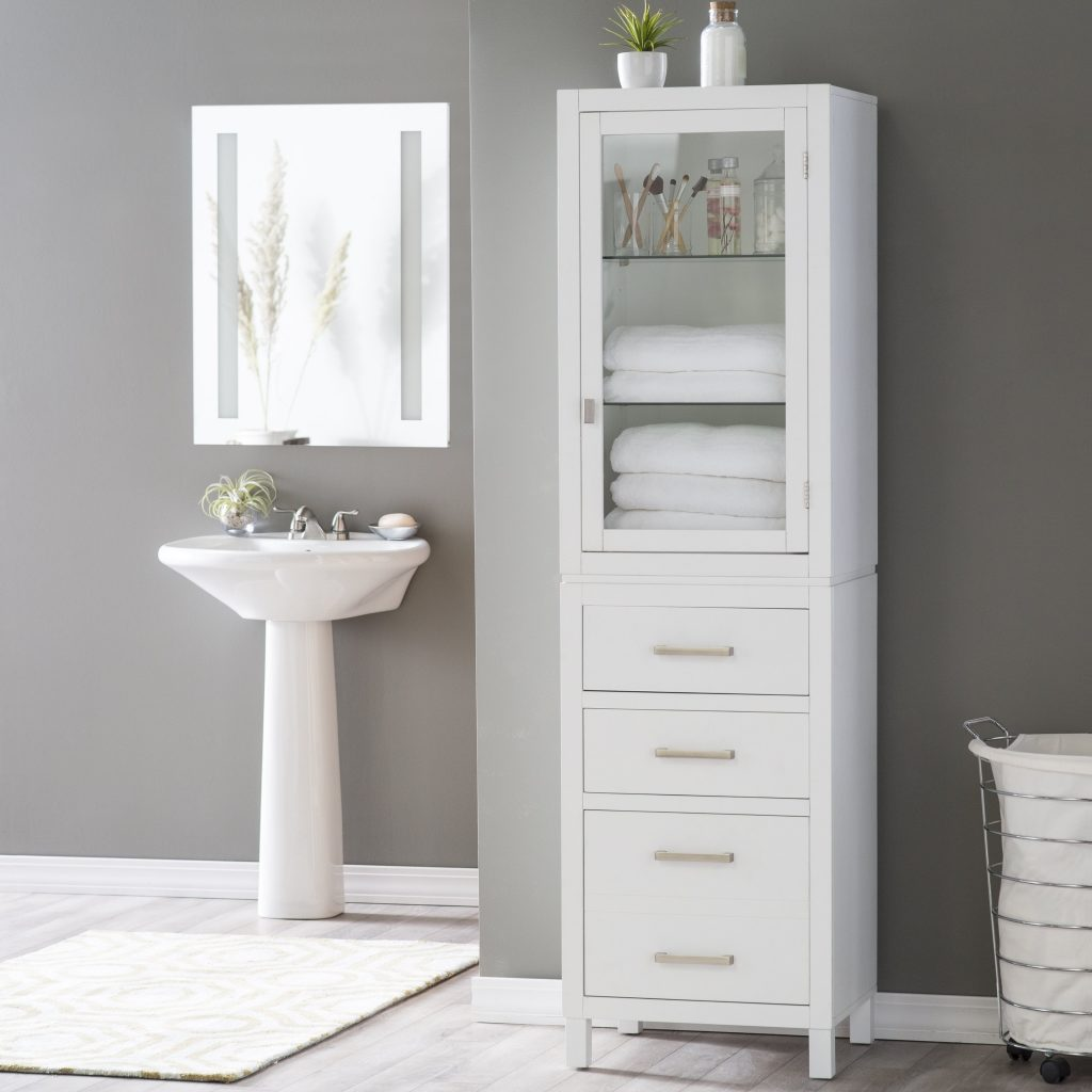 Upscale Bathroom Linen Storage Tall Cabinet With Doors Linen Tower