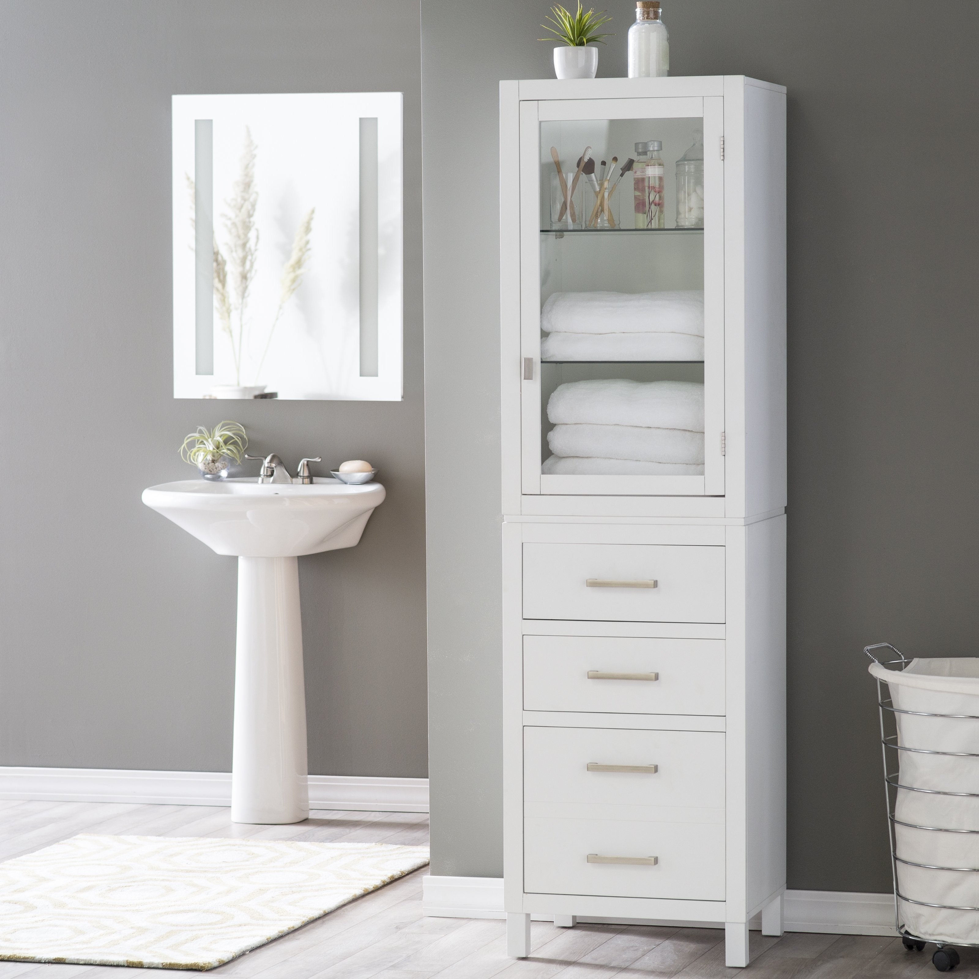 Upscale Bathroom Linen Storage Tall Cabinet With Doors