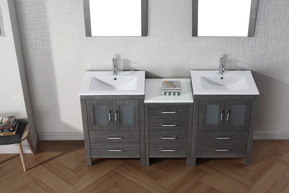 Virtu Usa Dior 66 Double Bathroom Vanity Set In Zebra Grey