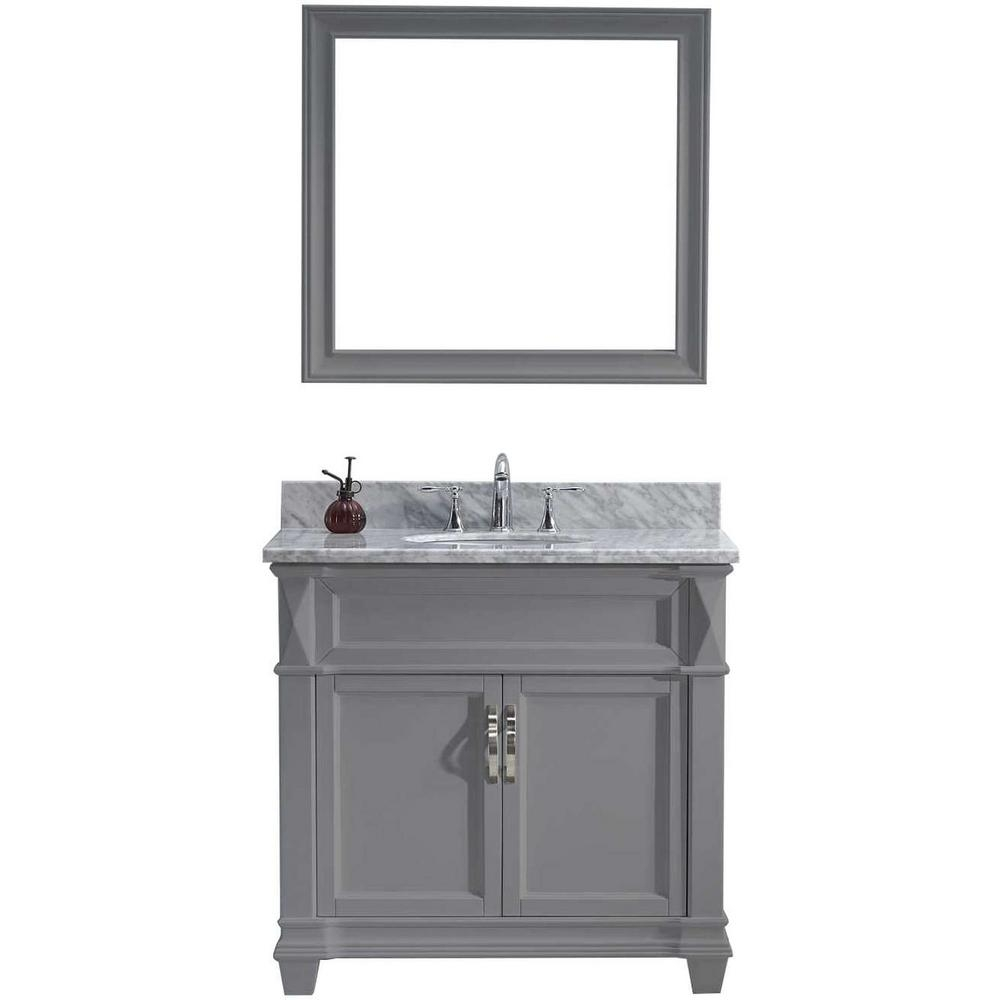 Virtu Usa Victoria 36 In W Bath Vanity In Gray With Marble Vanity