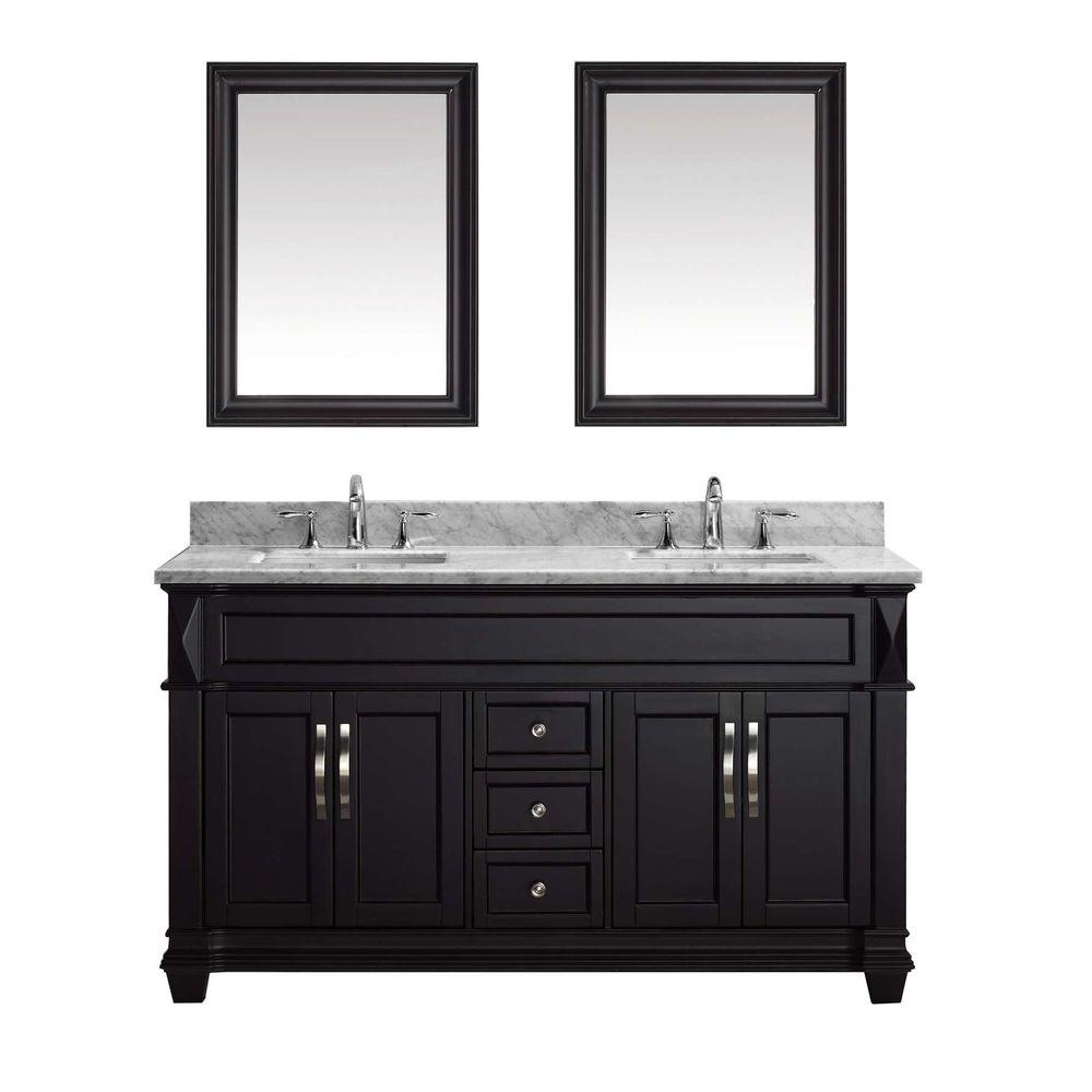 Virtu Usa Victoria 60 In W Bath Vanity In Espresso With Marble
