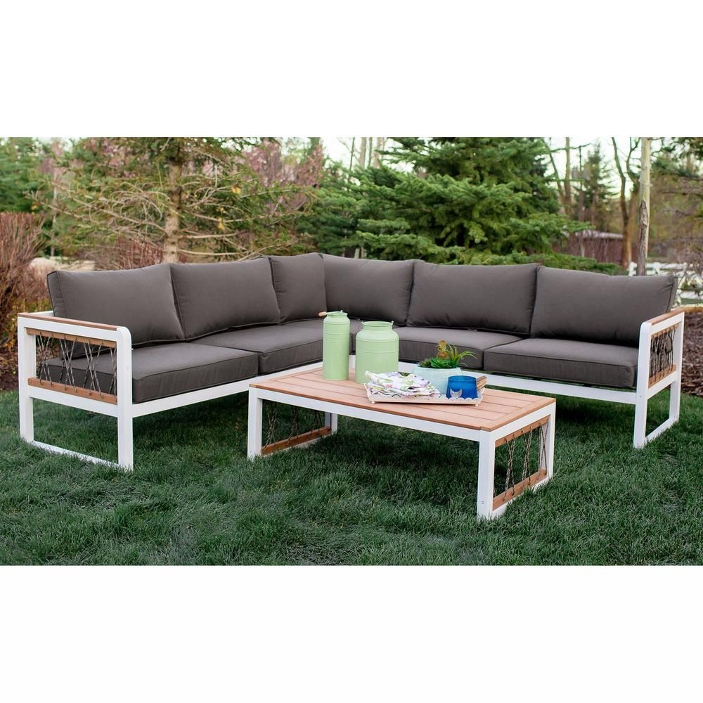 Walker Edison Furniture Company 4 Piece Wood Outdoor Sectional With