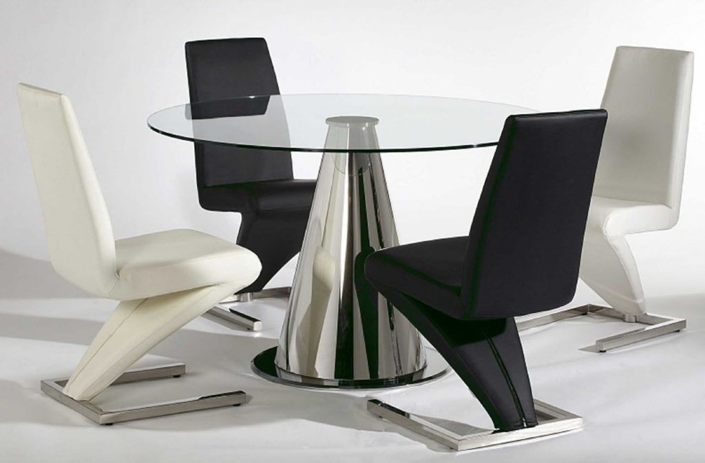 White And Black Leather Dining Room Chairs With Cool Design High