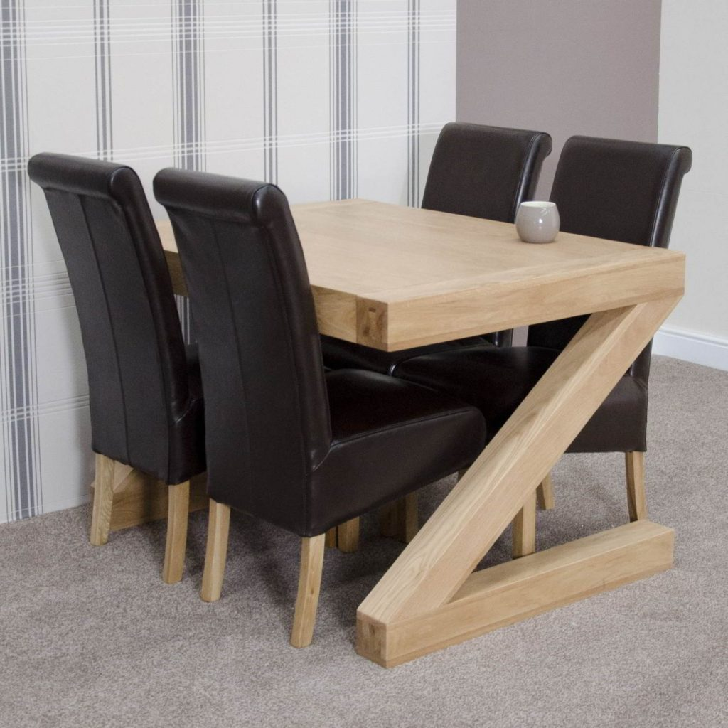 Z Solid Oak Designer Furniture Dining Table And Four Mahogany Dining