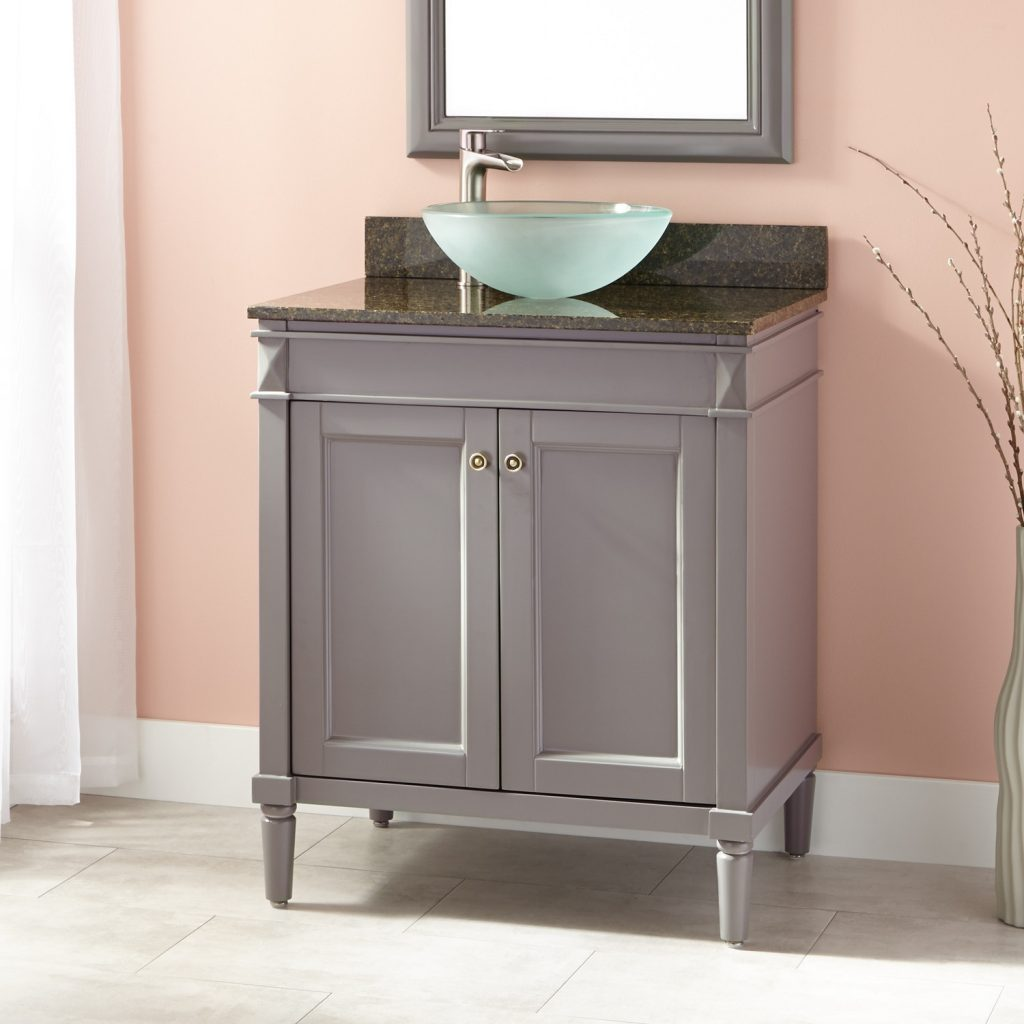 30 Chapman Vessel Sink Vanity Gray Bathroom