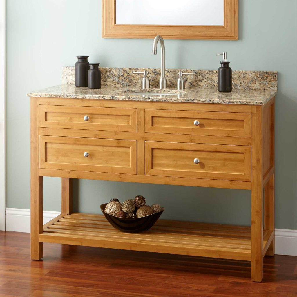 48 Narrow Depth Thayer Bamboo Vanity For Undermount Sink Bathroom
