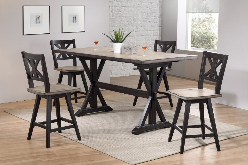 5 Piece Sand And Black Counter Height Dining Set Orlando Dining