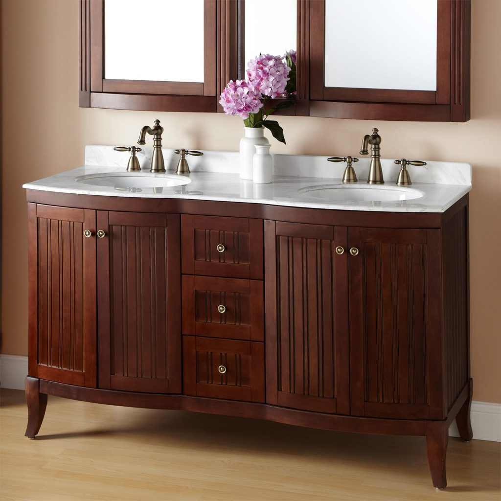 60 Palmetto Brown Cherry Double Vanity Bathroom