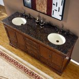 72 Bathroom Lavatory Double Sink Vanity Cabinet Granite Stone