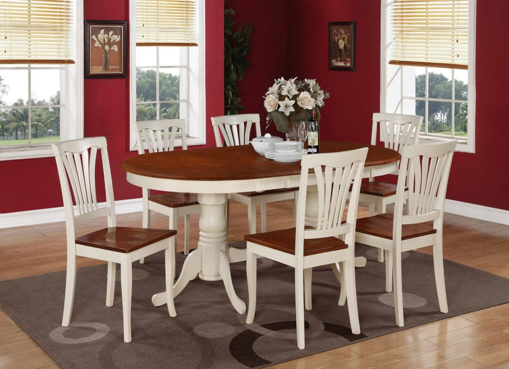 9pc Oval Dining Room Table 8 Chairs Self Storage Leaf Buttermilk Finish