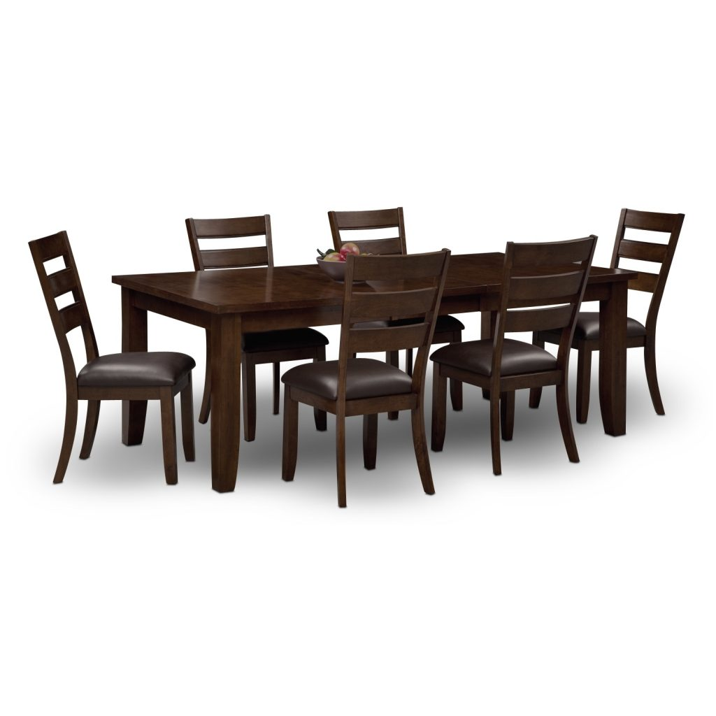 Abaco Table And 6 Chairs Brown American Signature Furniture