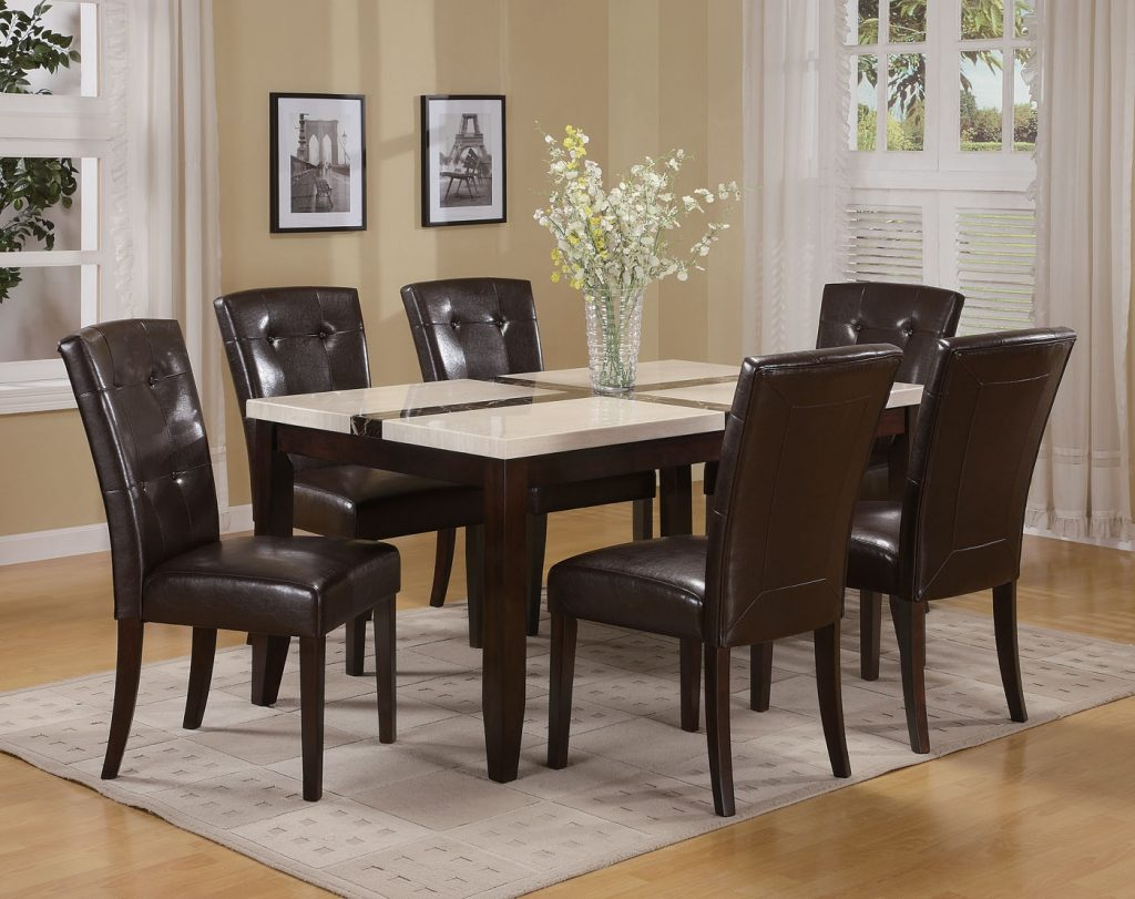 Acme Acme Justin White Faux Marble Top Dining Table Set In Espresso
