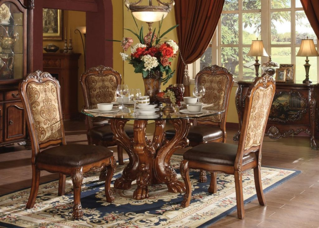 Acme Dresden 5 Pc Round Dining Table Set In Cherry Dining Rooms
