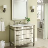 Adelina 36 Inch Mirrored Bathroom Vanity Imperial White Marble
