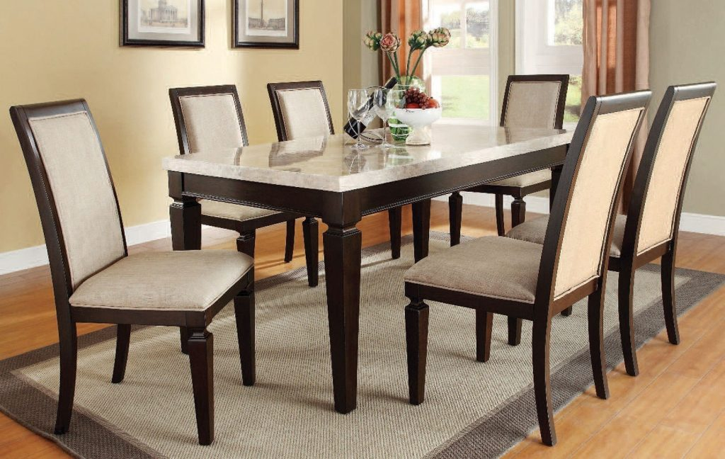 Agatha White Marble Top Dining Room Set Dining Room And Kitchen
