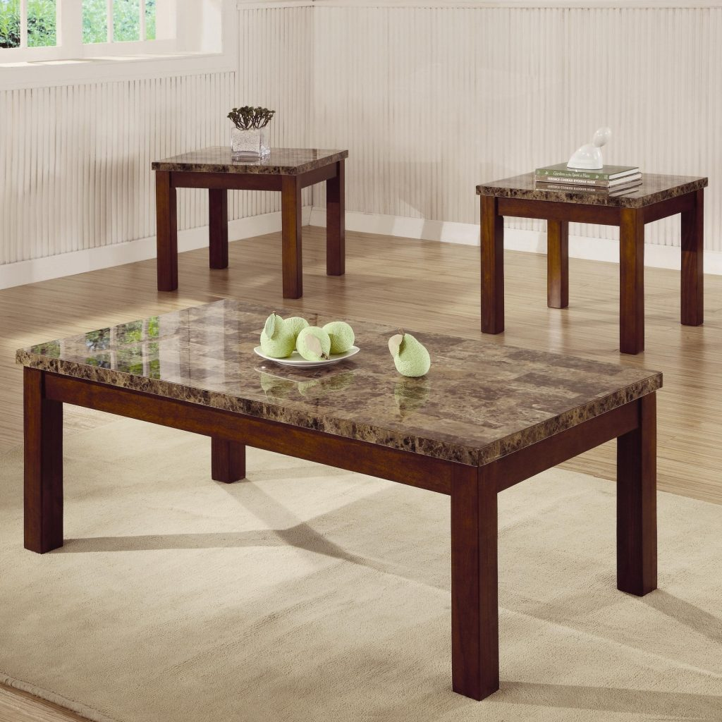 Arden 3 Piece Marble Look Top Coffeeend Table Set Coffee Table